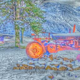 engin tracteur tree winter snow nature